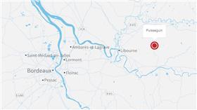 ▲車禍發生事故地點近利布爾納(Libourne)(圖/翻攝自Mapbox OpenStreetMap)