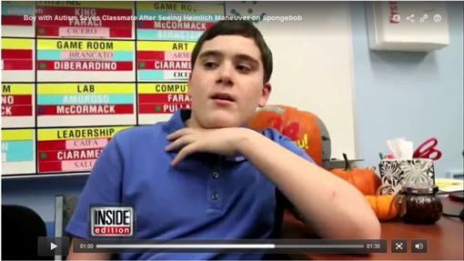 自閉兒救人/Inside Edition/http://www.insideedition.com/headlines/12826-autistic-teen-saves-choking-classmate-after-learning-heimlich-maneuver-from-spongebob