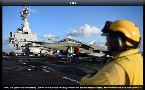 法國航空母艦,Charles de Gaulle,戴高樂號,反恐 (圖/翻攝自每日郵報)