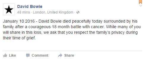 大衛鮑伊逝世臉書截圖