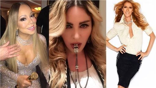 瑪丹娜、席琳狄翁、瑪麗亞凱莉/FB:瑪丹娜 Madonna Taiwan、Celine Dion、Mariah Carey
