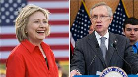 希拉蕊獲國會大老力挺(合成圖/翻攝自Hillary Clinton、Senator Harry Reid臉書)
