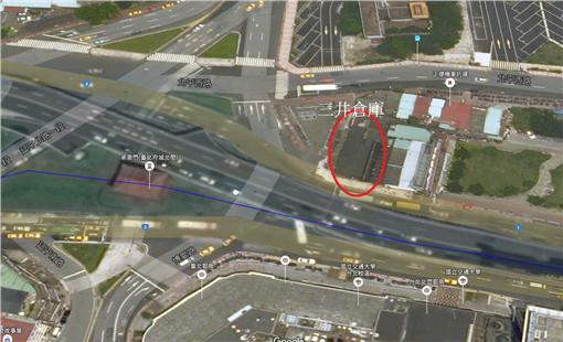 三井倉庫,北門,忠孝橋,都市計畫,拆遷,重建(Google map)