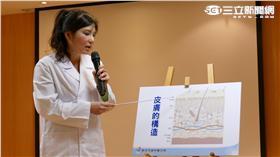 亞東醫院皮膚科王淑惠主任現場衛教如何選購化妝品。(圖/新北市衛生局)