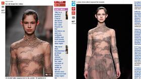 ▲女模露點走秀。(圖/翻攝自《每日郵報》) http://www.dailymail.co.uk/femail/article-3482572/Valentino-risks-outrage-sending-young-looking-model-catwalk-nipples-exposed-Paris-Fashion-Week.html