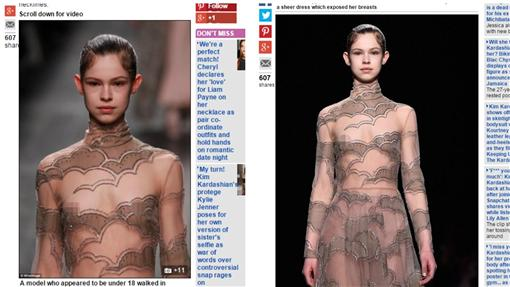 ▲女模露點走秀。(圖/翻攝自《每日郵報》)http://www.dailymail.co.uk/femail/article-3482572/Valentino-risks-outrage-sending-young-looking-model-catwalk-nipples-exposed-Paris-Fashion-Week.html