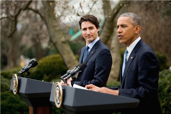 加拿大總理杜魯道(Justin Trudeau)、美國總統歐巴馬(圖/美聯社/達志影像)