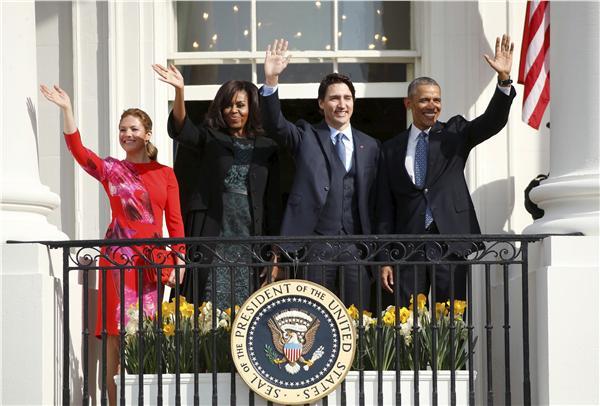 加拿大總理杜魯道(Justin Trudeau)夫婦、美國總統歐巴馬夫婦(圖/路透社/達志影像)