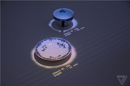 互動裝置SONY「Interactive Tabletop」翻攝自the vergehttp://www.theverge.com/2016/3/13/11215454/sony-interactive-projector-future-lab-sxsw-2016