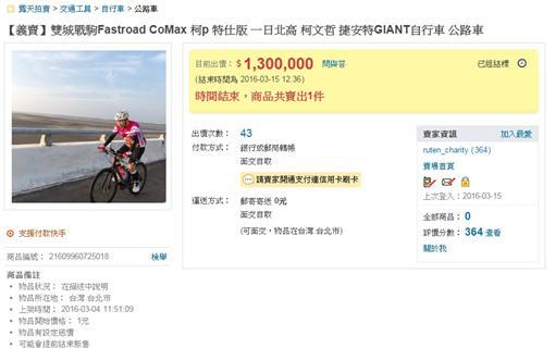 柯文哲,腳踏車,一日雙塔,一日雙城,義賣圖/翻攝自拍賣網站