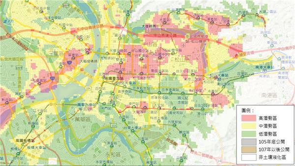 台北市土壤液化潛勢區 圖/翻攝自內政部營建署土壤液化潛勢區地圖