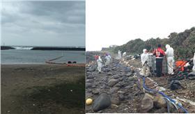 德翔台北貨櫃船斷裂,環保署督導油汙清理。(圖/取自環境保護署)