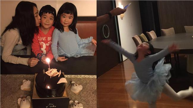 曹格老婆生日 女兒秀高難度芭蕾動作