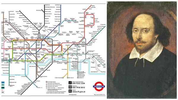 莎士比亞與英國地鐵路線圖(合成圖/翻攝自維基百科)