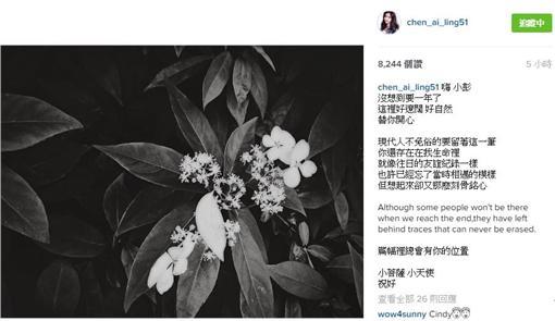 陳艾琳在IG紀念楊又穎。(圖/翻攝自chen_ai_ling51 IG)