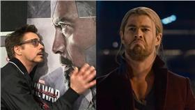 小勞勃道尼、克里斯漢斯沃、鋼鐵人、雷神索爾/翻攝自小勞勃道尼、Marvel臉書