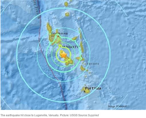▲萬那杜又傳強震。(圖/翻攝自《USGS》)http://www.news.com.au/world/pacific/powerful-earthquake-hits-vanuatu/news-story/f31dcaad7a16cd0b6e74966cfc747176