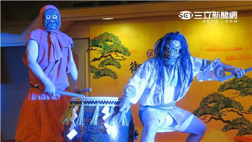 石川縣無形文化財「御陣乘鬼面太鼓」,即日起三天在北投加賀屋演出。(圖/記者簡佑庭攝影)