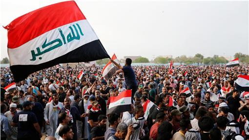 伊拉克抗議群眾/路透社/達志影像