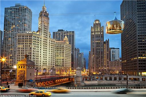 芝加哥興建玻璃空中纜車Chicago SkyLine。(圖/翻攝自每日郵報)