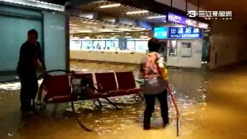 傾盆大雨釀淹水 桃機一片汪洋旅客罵翻