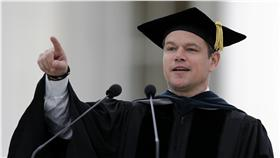 麥特戴蒙(Matt Damon)於MIT演講(圖/美聯社/達志影像)