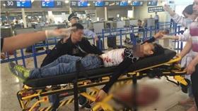 上海浦東機場爆炸案傷患。(圖/翻攝自網路)