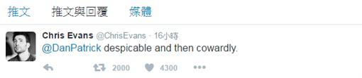 克里斯伊凡回應/翻攝自推特