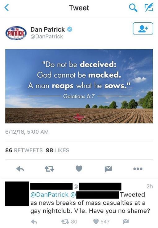 德州副州長疑諷槍擊案同志活該/翻攝自微博
