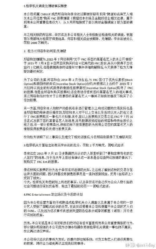 CNBLUE,FNC,聲明,炒股案,股票 圖/翻攝自韓國me2day微博