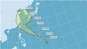 輕度颱風尼伯特潛勢路徑圖/中央氣象局官網