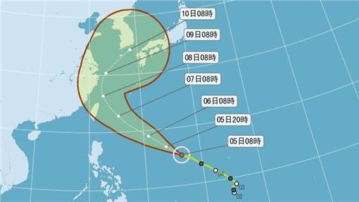 依據氣象局颱風動態觀測資料顯示,尼伯特已在今(5)日上午8時增強為中度颱風