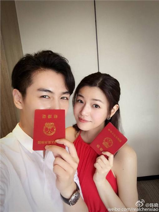 陳曉、陳妍希、結婚/翻攝自陳曉微博