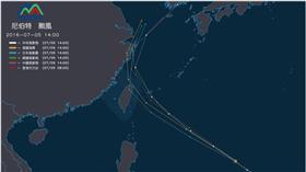 颱風,氣象,尼伯特,強度,東北角,路徑,預測(http://watch.ncdr.nat.gov.tw/watch_tracks.aspx)