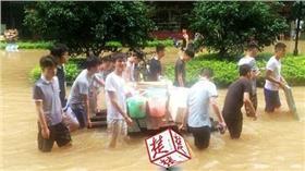 武漢,大學生,涉水 圖/翻攝自楚天都市報網站