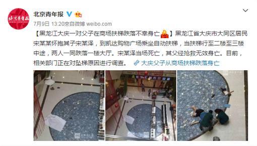電扶梯,墜樓(圖翻攝 北京青年報)