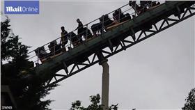 雲霄飛車,半空(影/翻攝自每日郵報) http://www.dailymail.co.uk/news/article-3684117/Terrifying-moment-thrillseekers-forced-walk-safety-Thorpe-Park-rollercoaster-aborted-45mph-ride-safety-fears.html