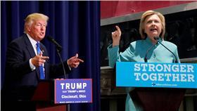 美國總統候選人希拉蕊(Hillary Clinton)、川普(圖/路透社/達志影像)