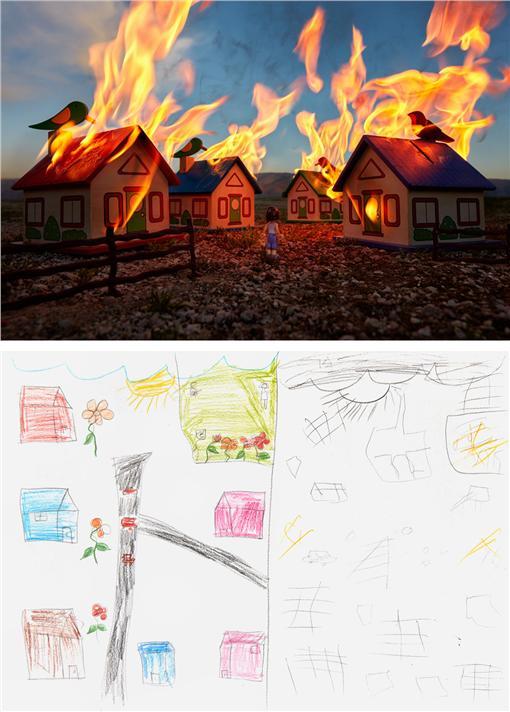 戰區孩童繪畫(圖/翻攝自Slate)