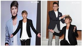 搞笑的林柏昇Kid打造成完美男神,穿著西裝帥氣登場。(記者邱榮吉/攝影)