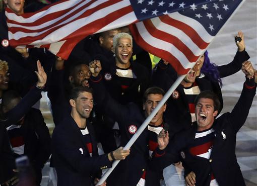 里約奧運開幕式進場,美國,菲爾普斯(ap)