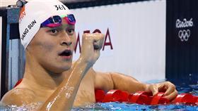 中國大陸泳將孫楊(Sun Yang)在里約奧運奪下銀牌。(圖/路透社/達志影像)