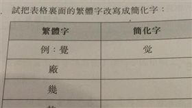 暑假作業逼迫學生「寫簡體字」(圖/翻攝自《熱血時報》)