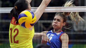中國女排球、塞爾維亞女排_美聯社