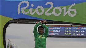 奧運,馬拉松,抗議,衣索比亞(圖/美聯社/達志影像)