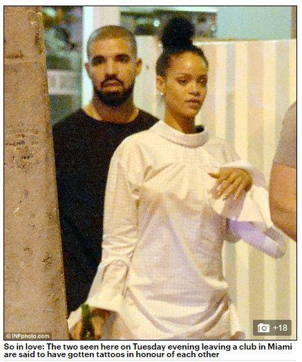 蕾哈娜,Rihanna,德瑞克,Drake/每日郵報