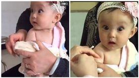 女嬰打針表情超福誇 瞪大萌眼內心戲超豐富 圖/翻攝自秒拍微博http://tw.weibo.com/shoujipaike/3962035374844559