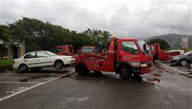 馬勒卡颱風 水利處關閉水門拖吊車輛 北市水利處提供
