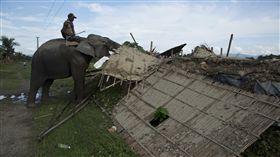 印度派出大象強拆村民房屋(圖/美聯社/達志影像)