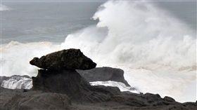 梅姬,颱風,巨浪,強風,海岸(圖/中央社)